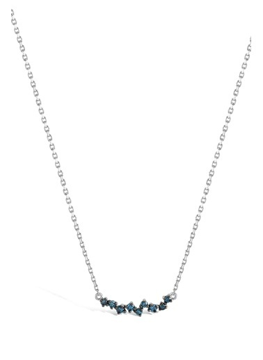 Piano Jewellery Cabaret Dia Queen Mavi Pırlanta Kolye 14 Ayar Gümüş